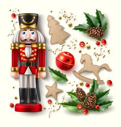 Christmas symbol realistic set nutcracker a vector