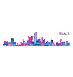 city scape with colorful various buildings vector image