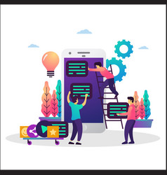 co working team mobile app development vector image
