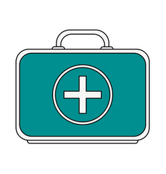 Color graphic first aid kit with symbol cross vector