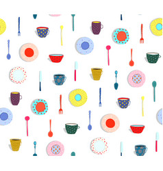 Colorful plates dishes seamless background vector