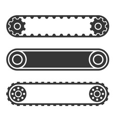 Conveyor belt line set on white background vector