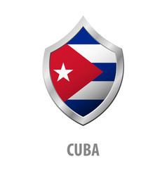 cuba flag on metal shiny shield vector image