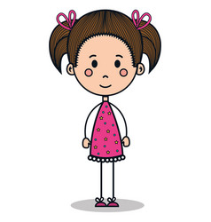 cute little girl drawing vector image