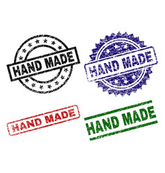 damaged textured hand made stamp seals vector image
