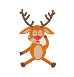 Deer wipes tears cartoon flat vector