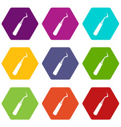 Dental probe icon set color hexahedron vector