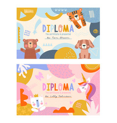 diploma templates for boys and girls vector image