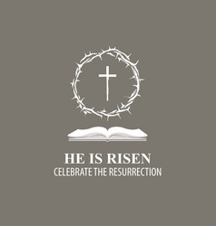 Easter banner with crown thorns cross and book vector