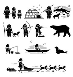 Eskimo people lifestyle and animals stick figure vector