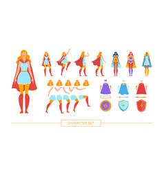 Female superhero character constructor flat vector