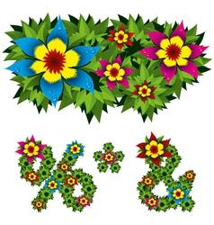 Flowers alphabet 14 vector