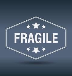 Fragile hexagonal white vintage retro style label vector