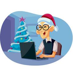 Grandpa using laptop shopping for christmas vector
