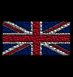 Great britain flag collage of waving flag items vector