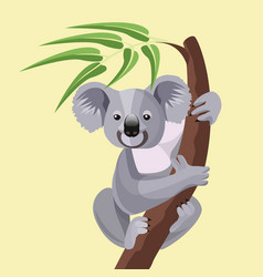 Grey koala bear isolated on wood branch with green vector