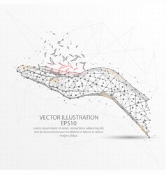 hand low poly wire frame on white background vector image