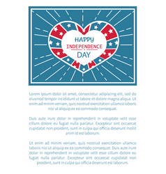 happy independence day poster heart shape label vector image