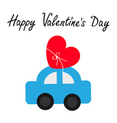 happy valentines day toy car carrying red love vector image