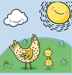 Heand with chickens and easter eggs decoration vector