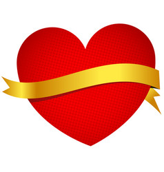 heart with golden banner vector image