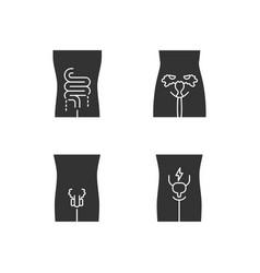 Ill human organs glyph icons set sore intestines vector