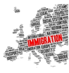 Immigration word cloud in a shape of Europe map vector