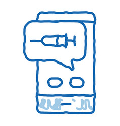 Injection mobile app doodle icon hand drawn vector