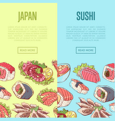 japanese sushi advertising with asian dishes vector image