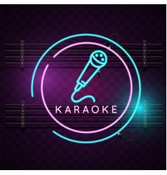 karaoke neon microphone sign background ima vector image