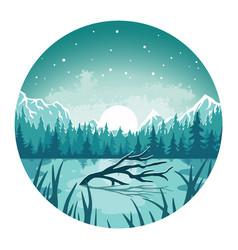 Landscape outdoor wild nature lake or wanderlust vector