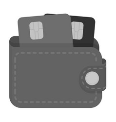 Leather wallet with credit cards e-commerce vector