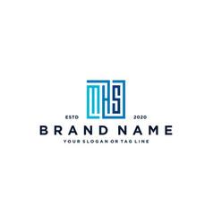 Letter mhs square logo design vector