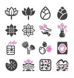 lotus icon set vector image