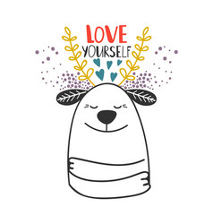 Love yourself dog card template vector