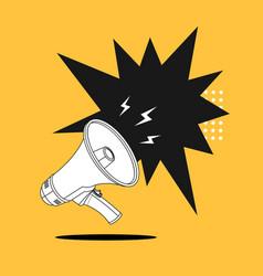 megaphone advertising concept banner contour vector image