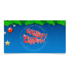 merry christmas calligraphic lettering on banner vector image