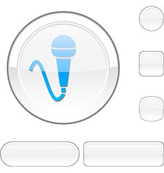 Mic white button vector image