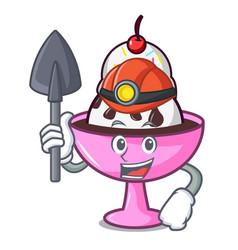 Miner ice cream sundae mascot cartoon vector
