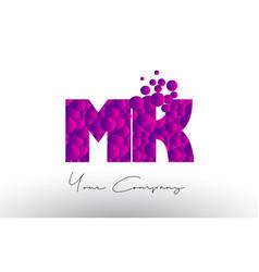 Mk m k dots letter logo with purple bubbles vector