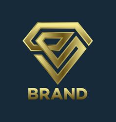 modern diamond and letter e logo vector image