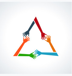 multiracial human hands in a triangle vector image