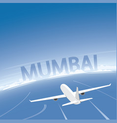 Mumbai skyline flight destination vector