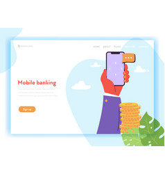 online banking landing page template mobile vector image
