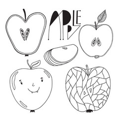 Pack apple fruits outline apples vector