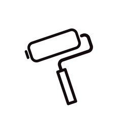 paint roller simple black icon on white vector image