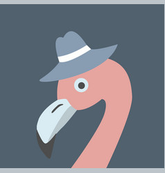 Pink flamingo head wearing hat retro style blue vector