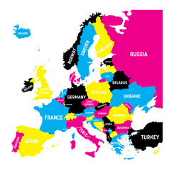 political map of europe continent in cmyk colors vector image