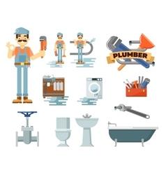 Professional plumbing repair service set vector
