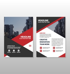 Red triangle brochure leaflet flyer template set vector
